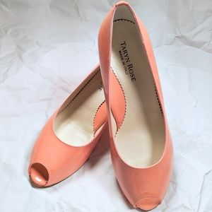 Taryn Rose peep toe wedge coral pink 36.5 size 6.5